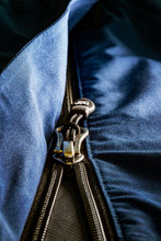 Metal Zipper With Blue Fabric