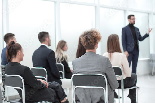 business team listening to the speaker in the conference room Canvas Print