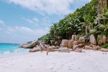 Stunning Tropical Beach At Seychelles, Giant Granit Rocks On The Beachs, Praslin Island Seychelles Cote Dor Beach