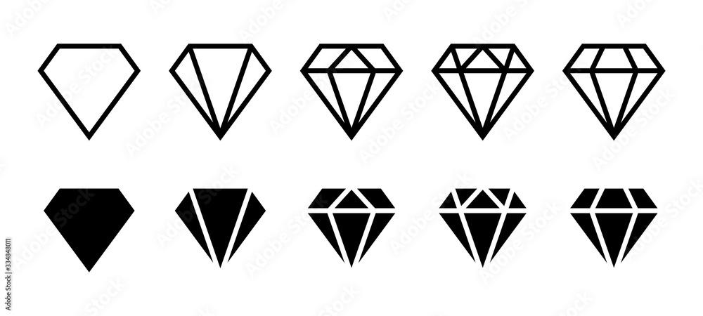 Fototapeta Diamond icon. Big collection quality diamonds. Linear diamond style and silhouette. Royal diamond icons collection set. Vector illustration