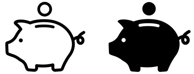 Piggy bank icon. Piggybank with falling coins. Baby pig piggy bank. Pig silhouette. Financial independence. Money box symbol flat style stock vector.