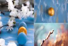 Easter Collage With Eggs.