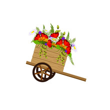 Wooden Cart With Flowers On An...