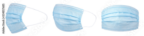 Personal protective equipment, PPE, medical face mask isolated on white. #334857685