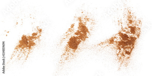 Fotografering Set pile cinnamon powder isolated on white background, with top view