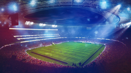 Background of a soccer stadium with light effects full of fans during a night game. 3D rendering
