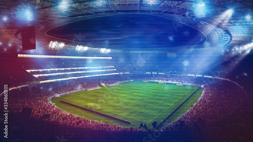 Foto Background of a soccer stadium with light effects full of fans during a night game