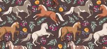 Horses Pattern. Wild Horses An...
