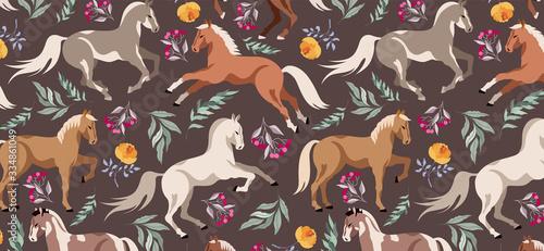 Canvas Print Horses pattern