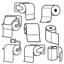 Collection Of Toilet Paper Rolls Icons. Toilet Paper With Holder. Vector And Illustration.