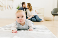 Caucasian Baby Crawling On The...