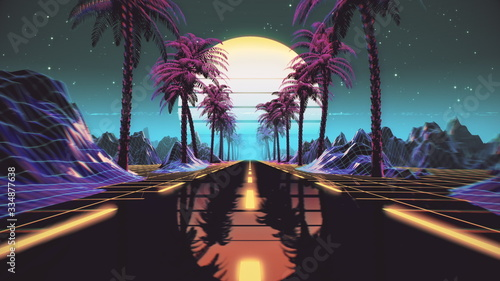 Fototapeta 80s retro futuristic sci-fi background. Retrowave VJ videogame landscape with neon lights and low poly terrain grid. Stylized vintage cyberpunk vaporwave 3D render with mountains, sun and stars. 4K obraz