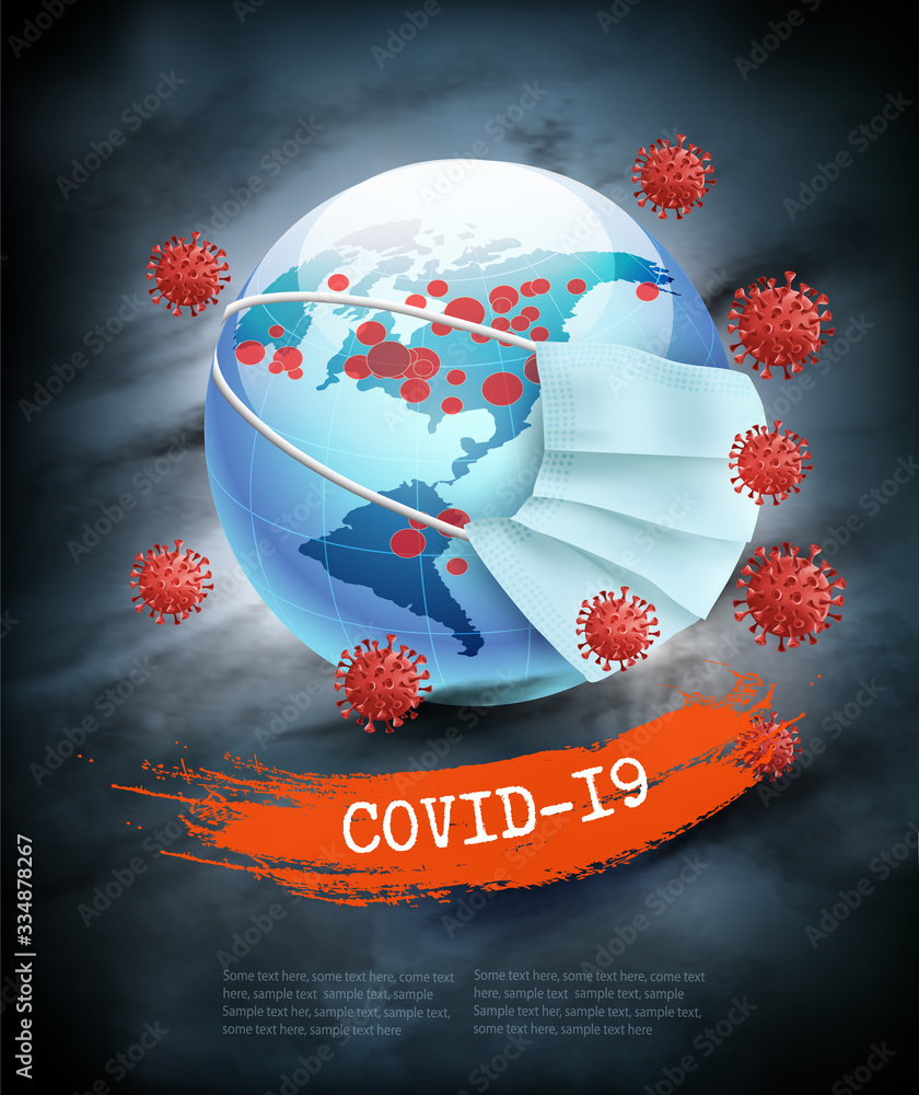 Fototapeta Coranavirus pandemic background.  Earth globe wearing protective Medical Surgical Face mask. Disaster gloomy backdrop. Vector