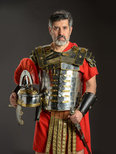Roman Soldier Posing Holding H...
