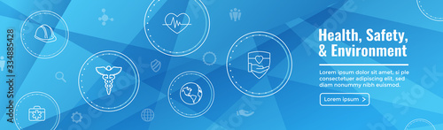 Health Safety and Environment Icon Set & Web Header Banner Wallpaper Mural