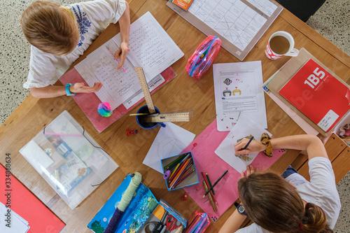 looking down on homeschooling table Canvas-taulu