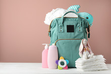 Bag With Diapers And Baby Acce...