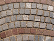 Tiled granite blocks flooring pavement at boulevard, avenue, street
