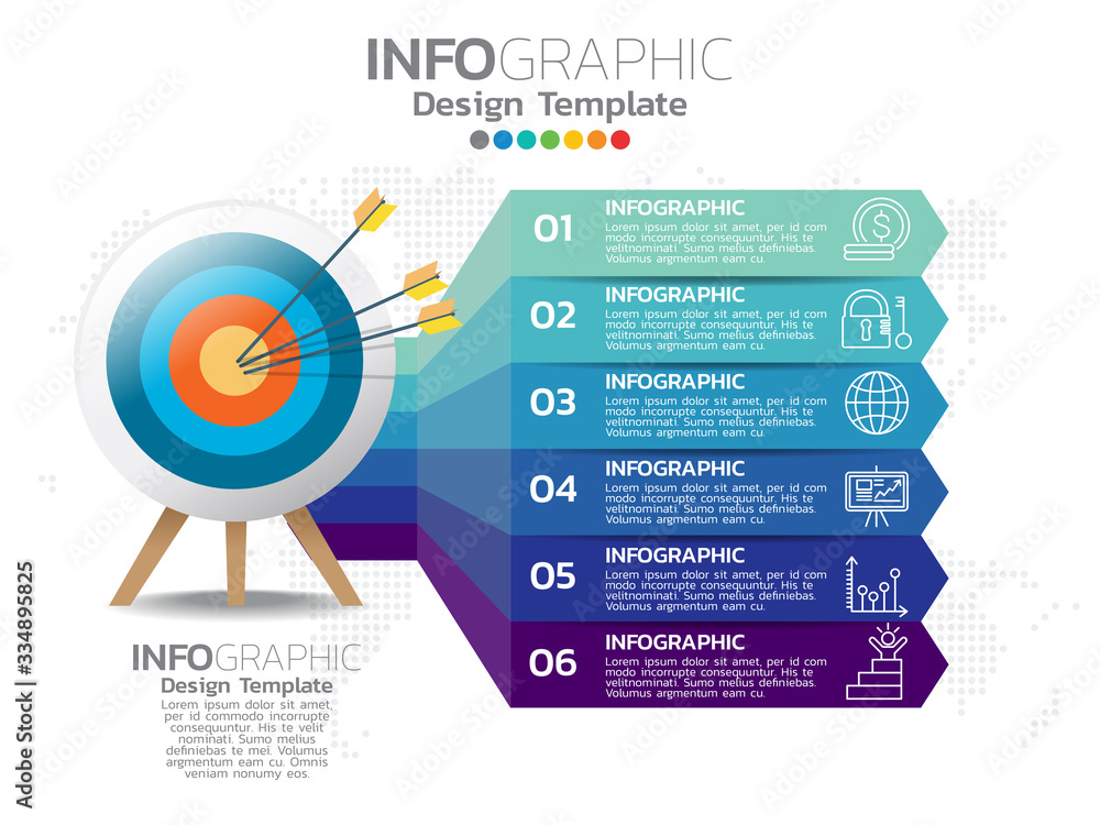 Fototapeta Business 6 step process chart infographics with numbers.