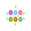 Greeting inscription with the Easter bunny and Easter eggs. Wishing You a Happy Easter