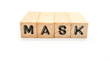 """Wooden Text Block Of """"MASK"""" On..."""