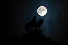 Wolf Howling At The Moon In Th...