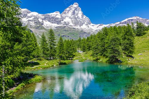 Fotografie, Obraz Matterhorn and Blue lake