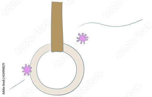 Photo コロナウィルスがつり革に付着するイラスト