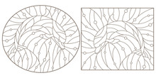 Set Of Contour Illustrations Of Stained Glass Windows With Dolphins, Dark Contours On A White Background