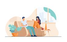 Romantic Couple Sitting At Sof...