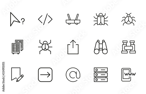 Web line icons set. Wallpaper Mural