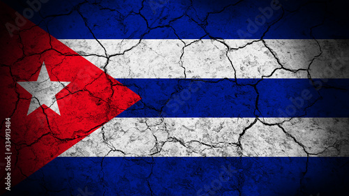Cuba flag on the cracked background texture. Wallpaper Mural