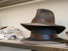 Stack Of Two Fedora Hats On Di...