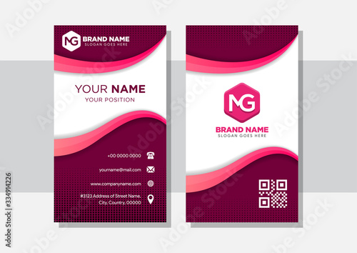 Slika na platnu vertical business card with dark pink background and pink gradient curve shape