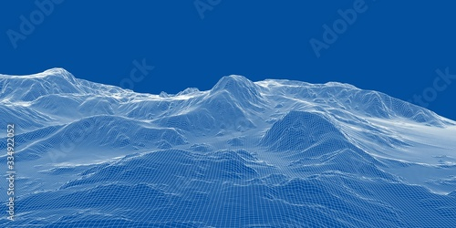 Abstract 3d wire-frame landscape. Blueprint style Canvas