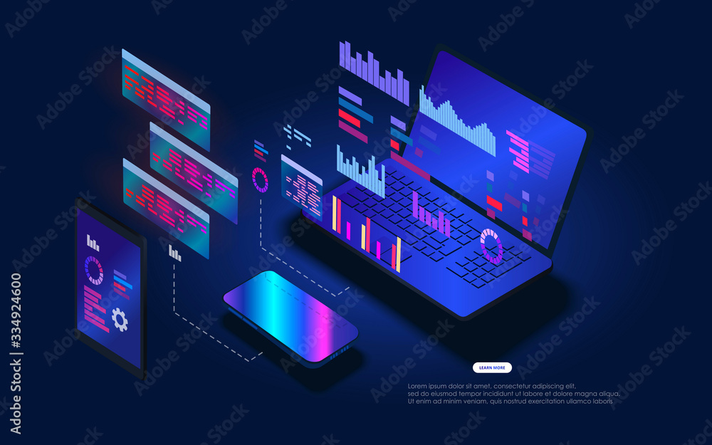 Fototapeta Web template for programming and software developmen. Floating holographic program code on a laptop screen. The software coding process. Platform programming and testing training
