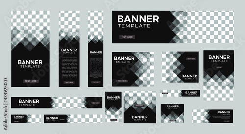 Fototapeta set of creative web banners of standard size with a place for photos. Vertical, horizontal and square template. vector illustration	 obraz
