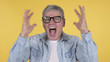 Screaming Angry Casual Old Man on Yellow Background