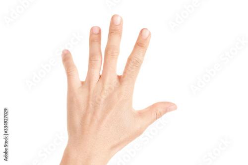 Fotografie, Tablou Hand shown five finger symbol on isolated white background for graphic designer