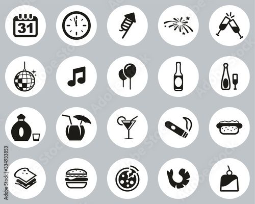 Fényképezés New Years Eve Or New Years Party Icons Black & White Flat Design Circle Set Big