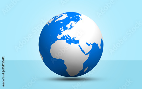 Photo 3d render globe sphere on blue background