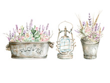 Hand Painted Watercolor Set - Lantern And Bouquets With Hydrangea, Lavenders And Foliage In Buckets. Romantic Floral Rustic Set Perfect For Fabric Textile, Vintage Paper Or Scrapbooking