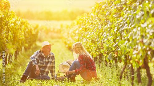 Cuadros en Lienzo Couple having picnic with wine in the vineyard