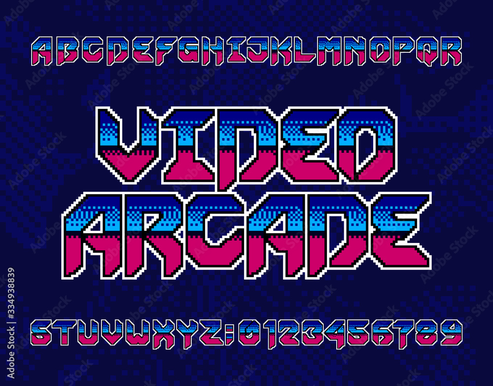 Fototapeta Video Arcade alphabet font. Retro pixel letters and numbers. Pixel background. 80s electronic game typescript.