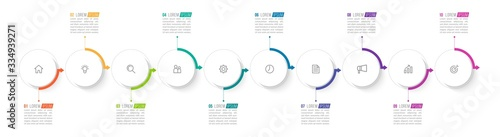 Fototapeta Minimal Business Infographics template. Timeline with 10 steps, options and marketing icons .Vector linear infographic with ten conected elements. Can be use for presentation. obraz