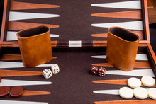 Backgammon Game With Board Pie...