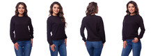 Beautiful Girl In A Black Sports Suit With A Hood. Front View, Side View, Rear View. Sweatshirt Mockup Template