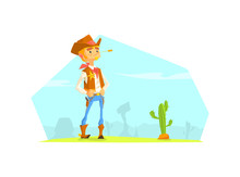 Cheerful Cowboy Sheriff Character In Desert Landscape, Wild West Vector Illustration