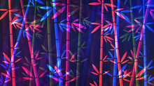 Bamboo Background. Vector Illustration Of Glowing Neon Colored Abstract Bamboo Forest
