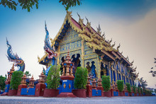 Rong Sua Ten Temple With Twilight Light, Chiangrai Thailand